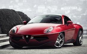 Картинка машина, фары, Alfa Romeo, red, передок, Touring, Disco Volante