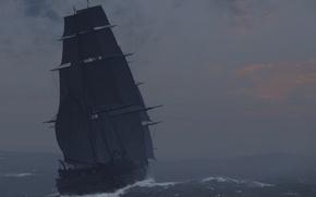 Картинка море, волны, шторм, дождь, корабль, буря