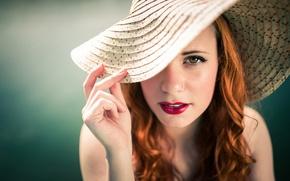 Картинка девушка, портрет, шляпа, Пинап