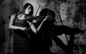 Картинка девушка, скрипка, игра, Shadow Music