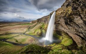 Картинка скала, панорама, Водопад, Seljalandsfoss, природа