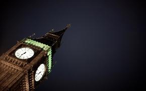 Картинка ночь, часы, башня, City