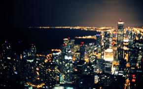 Обои боке, Чикаго, Иллинойс, ночь, огни озеро