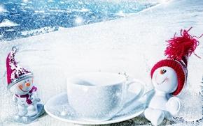 Обои зима, снег, снеговик, рождество
