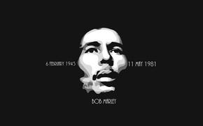 Картинка Минимализм, Черный, Фон, Bob Marley, Легенда, Боб Марлей, Reggae
