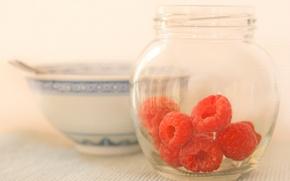 Картинка ягоды, малина, чашка, банка