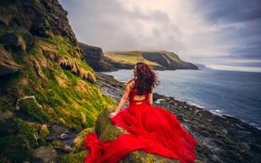 Картинка девушка, закат, настроение, океан, побережье, Дания, платье, красное платье, Атлантический океан, Faroe Islands, Фарерские острова, …