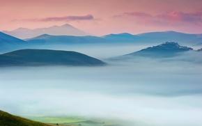 Картинка небо, туман, дом, утро, долина, Италия, усадьба, Умбрия