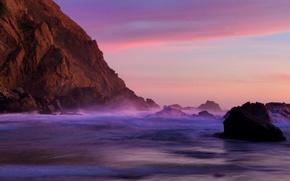 Картинка пляж, закат, скала, камни, океан, california, сумерки, калифорния, тихий, pfeiffer beach, пфайффер