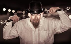 Картинка взгляд, шляпа, трость, мужчина, рубашка, бородка