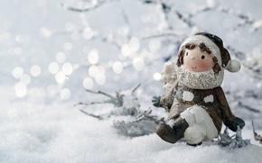 Картинка зима, снег, игрушка, девочка, статуэтка, боке, веточки