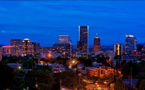 Картинка ночь, город, огни, дома, США, улицы, Portland