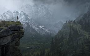 Картинка Лес, Лара Крофт, Rise of the: Tomb Raider, Горы, Арт, Lara Croft, Снег