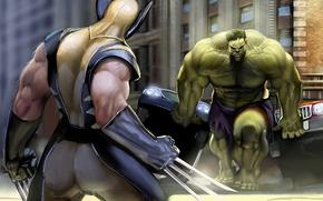 Обои супер герои, wolverine, комикс, сила, битва, халк, противостояние, hulk, когти, superheroes, marvel comics росомаха