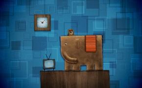 Картинка радость, синий, фантастика, слон, весело
