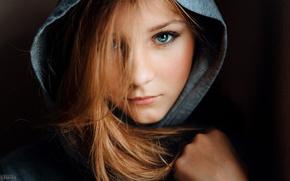 Картинка глаза, взгляд, девушка, капюшон
