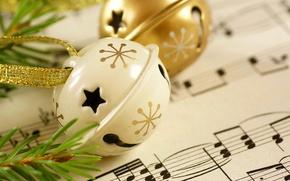 Картинка зима, музыка, праздник, music, Happy New Year, winter, Merry Christmas, holiday, notes, С Новым годом, …