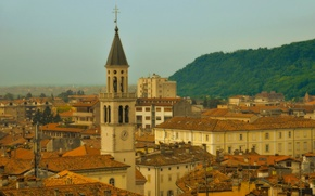 Картинка здания, башня, дома, крыши, Италия, Italy, Gorizia, Фриули-Венеция-Джулия, Гориция, Friuli Venezia Giulia