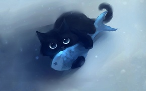 Картинка кот, взгляд, фон, рыба, wallpaper, apofiss, котЭ