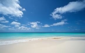 Картинка песок, море, волны, пляж, лето, небо, облака, природа