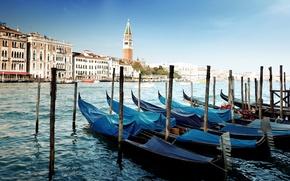 Картинка море, вода, пристань, Италия, Венеция, канал, Italy, гондолы, Venice