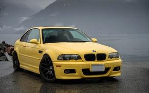 Картинка асфальт, желтый, мокрый, bmw, БМВ, вид спереди, yellow, e46
