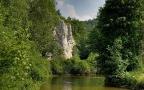 Картинка лес, деревья, гора, Германия, Бавария, Germany, Bavaria, река.