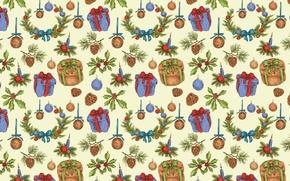 Картинка фон, праздник, подарок, рождество, текстура, Новый год, шишка, Christmas