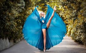 Обои танец, платье, балерина, аллея, пуанты