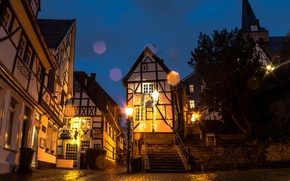 Картинка ночь, Германия, фонари, Essen, Эссен