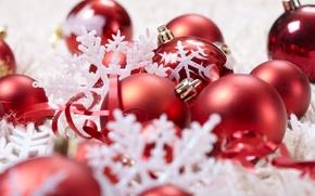Картинка шарики, украшения, снежинки, праздник, шары, игрушки, Новый Год, Рождество, красные, Christmas, ленточки, New Year