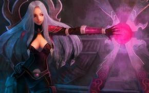 Картинка девушка, магия, арт, красные глаза, рука, Irelia, League of Legends