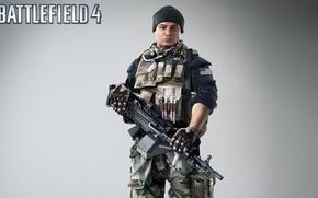 Картинка оружие, шапка, солдат, пулемет, боец, экипировка, бронежилет, обойма, Electronic Arts, Battlefield 4, EA Digital Illusions …