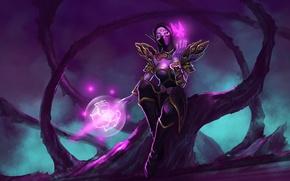 Картинка девушка, дерево, магия, бабочка, арт, Dota 2, Lanaya, Templar Assassin, mindtheoff