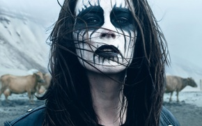 Картинка music, girl, movie, black metal, film, 2013, warpaint, drama, Málmhaus, металлистка, Thora Bjorg Helga, corpsepaint, …