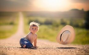 Картинка дорога, ветер, шляпа, простор, ребёнок, боке
