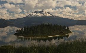 Картинка деревья, природа, озеро, остров, гора, арт, постройка