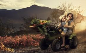 Картинка дети, урожай, трактор, овощи