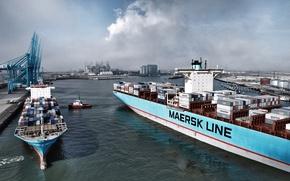 Картинка Море, Порт, Причал, Дым, Судно, Контейнеровоз, Краны, Два, Отход, Maersk, Maersk Line, Грузовое, Рейс, Буксир, ...