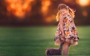 Картинка улыбка, настроение, девочка, котёнок, друзья, сарафан