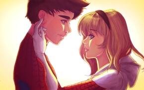 Картинка девушка, пара, парень, отношения, Spider-Man, Peter Parker, gwen stacy, Edge of Spider-Verse