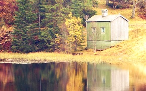 Картинка осень, лес, озеро, Норвегия, домик