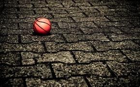 Картинка мяч, баскетбол, ФОН, ПОВЕРХНОСТЬ, ПЛИТКА, СПОРТ, БРУСЧАТКА