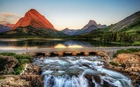 Обои парк, сша, горы, река, мост, glacier, montana, hdr