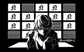 Картинка гений, монитор, Death Note, детектив, тетрадь смерти, Near, пронзительный взгляд, by Takeshi Obata