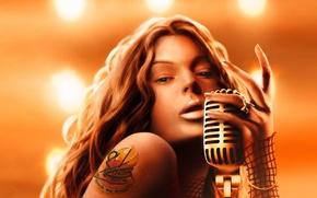Картинка девушка, сердце, кольцо, тату, арт, татуировка, микрофон