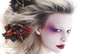 Картинка цветок, взгляд, лицо, волосы, макияж, тени