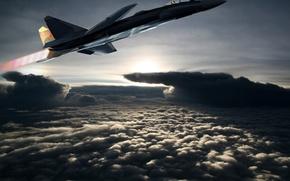 Картинка полет, самолет, СУ 37