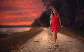 Картинка дорога, девушка, закат, милая, платье, прелесть, походка