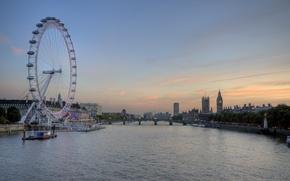 Обои Темза, Лондон, Вечер